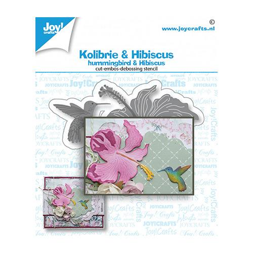 Snij-debos-embosstansmal - Kolibrie & bloem