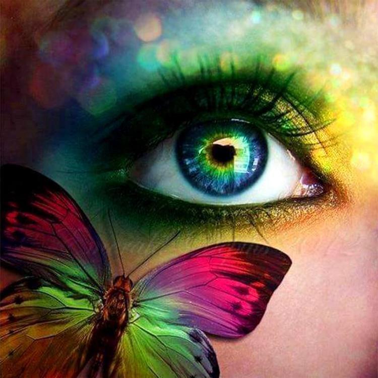 HLQ-01553 Diamond Painting vierkant oog met vlinder