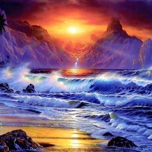 HLQ-01616 Diamond Painting vierkant sunset zee