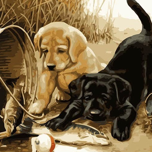 A1080 Diamond Painting vierkant 2 puppy's