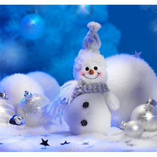 01-christmas Diamond Painting vierkante steentjes - sneeuwpop