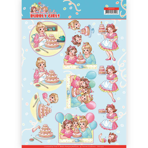 3D cutting sheet - Yvonne Creations - Bubbly Girls - Party - Baking