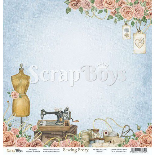 ScrapBoys Sewing Love paper sheet DZ SELO-01 190gr 30,5cmx30,5cm (04-20)