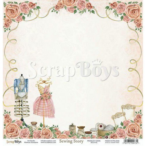 ScrapBoys Sewing Love paper sheet DZ SELO-02 190gr 30,5cmx30,5cm (04-20)