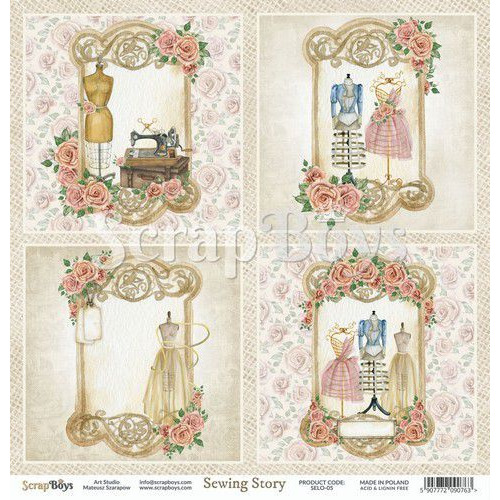 ScrapBoys Sewing Love paper sheet DZ SELO-05 190gr 30,5cmx30,5cm (04-20)
