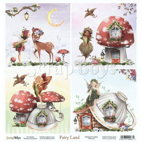 ScrapBoys Fairy Land paper sheet DZ FALA-05 190gr 30,5cmx30,5cm (04-20)
