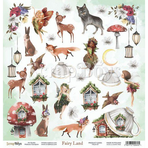ScrapBoys Fairy Land paper cut out elements DZ FALA-07 190gr 30,5cmx30,5cm (04-20)