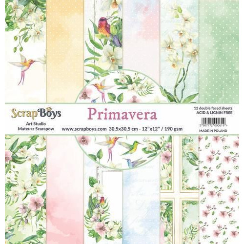 ScrapBoys Primavera paperset 12 vl+cut out elements-DZ PRIM-01 190gr 30,5cmx30,5cm (04-20)