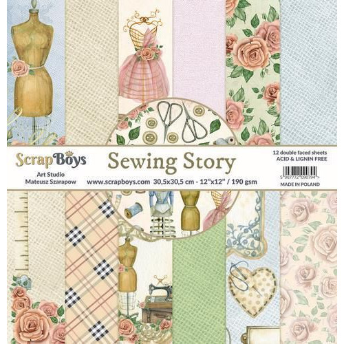 ScrapBoys Sewing Love paperset 12 vl+cut out elements-DZ SELO-01 190gr 30,5cmx30,5cm (04-20)
