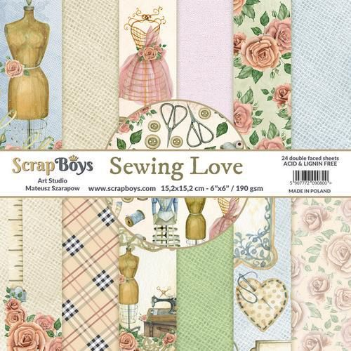 ScrapBoys Sewing Love paperpad 24 vl+cut out elements-DZ SELO-02 190gr 15,2cmx15,2cm (04-20)