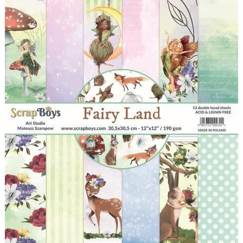 ScrapBoys Fairy Land paperset 12 vl+cut out elements-DZ FALA-01 190gr 30,5cmx30,5cm (04-20)