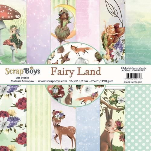 ScrapBoys Fairy Land paperpad 24 vl+cut out elements-DZ FALA-02 190gr 15,2cmx15,2cm (04-20)
