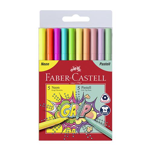 Viltstiften FC Grip neon en pastel etui.