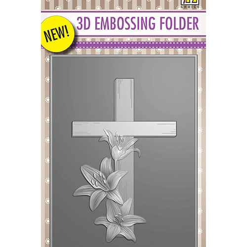 EF3D010 3D Embossing Folder Cross with lilies