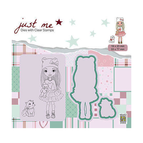 JMSD001 Just Me Die + Clear stamp Girl with cat
