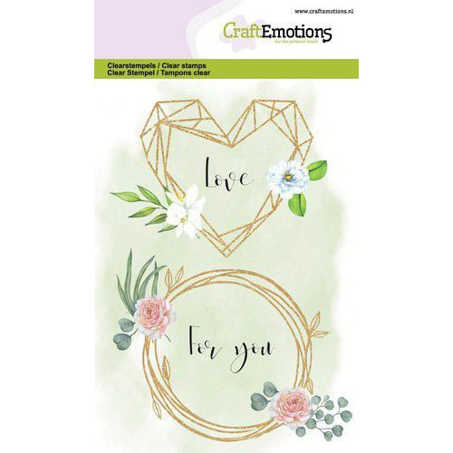 CraftEmotions clearstamps A6 - floral frame hart en ring GB (05-20)