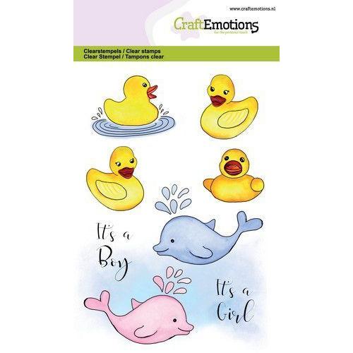 CraftEmotions clearstamps A6 - bad eendjes - geboorte GB (05-20)