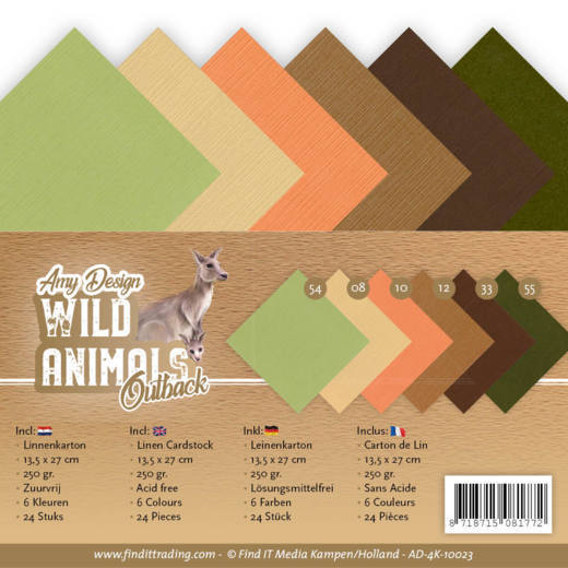 Linen Cardstock Pack - 4K - Amy Design - Wild Animals Outback