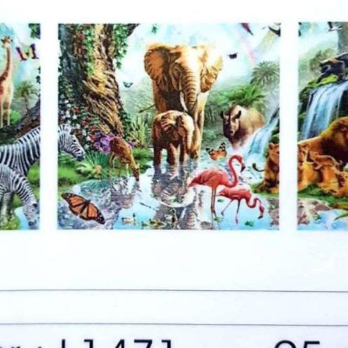 L1471 Diamond Painting rond 3 luik wilde dieren