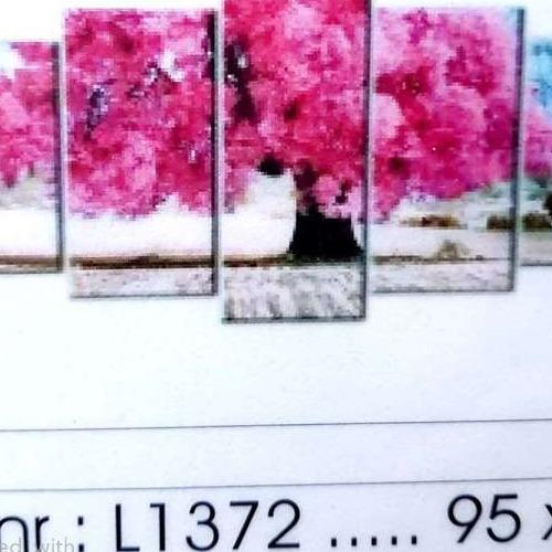 L1372 Diamond Painting rond 5 luik roze boom