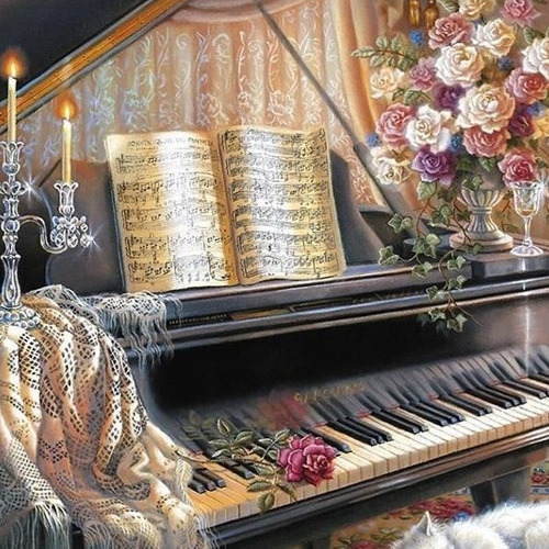 HLQ-02450 Diamond Painting rond piano vintage