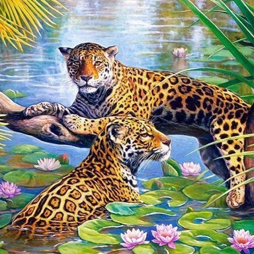 HLQ-04566 Diamond Painting rond panthers in tak