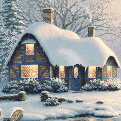A392 Diamond Painting rond huis in sneeuw