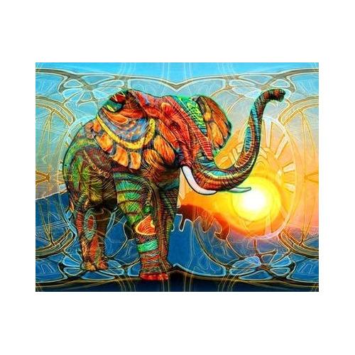 HLQ-02284 Diamond Painting rond olifant colour