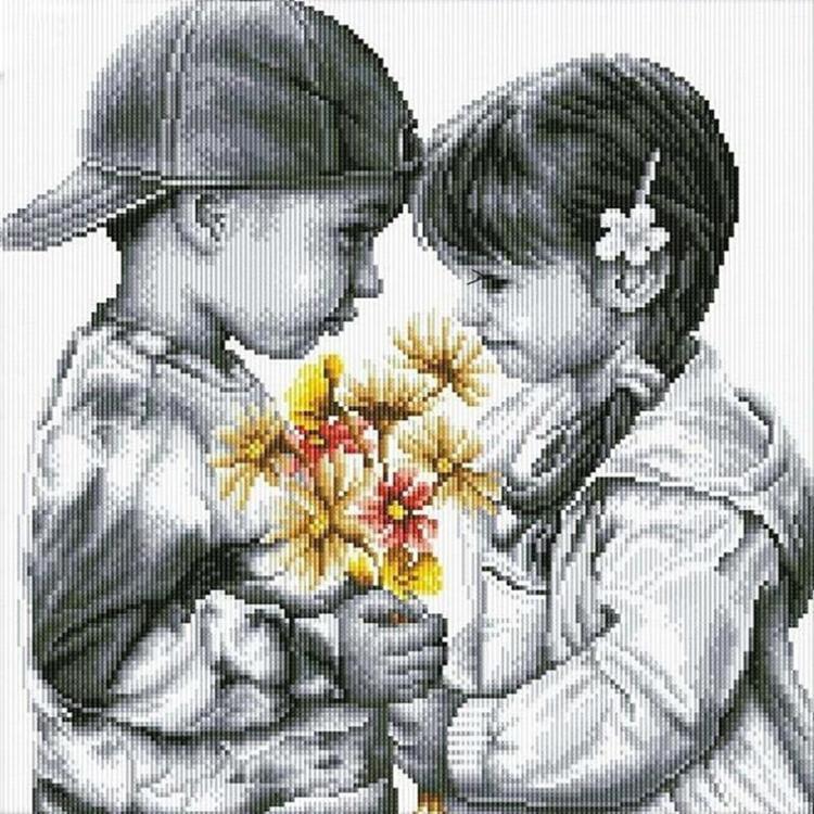 HLQ-03825 Diamond Painting vierkant jongen en meisje