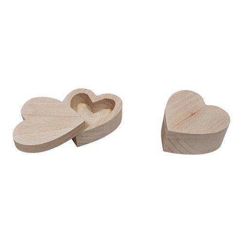 Houten Kistje voor ringen / oorbellen beukenhout Hartvorm 5,5cmx5,5cmx2,7cm