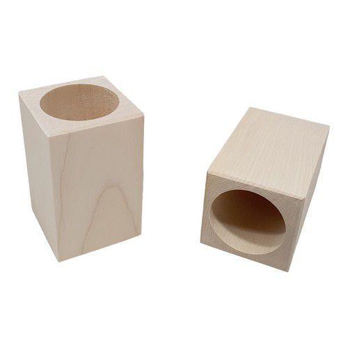 Houten Pennenbakje vierkant met ronde opening berkenhout 5,9cmx5,9cmx9,6cm