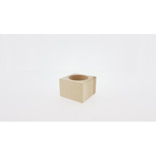 Houten Waxinelichthouder vierkant beukenhout 5,7cmx5,7cmx4cm