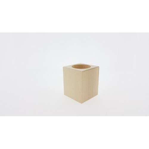 Houten Waxinelichthouder vierkant beukenhout 5,7cmx5,7cmx7cm