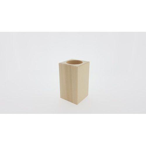 Houten Waxinelichthouder vierkant beukenhout 5,7cmx5,7cmx10cm