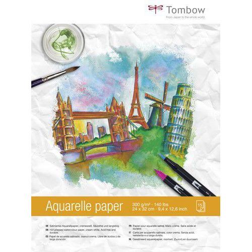 Tombow Aquarelblok 24x32cm 300gr roomwit 15vl PB-AQUA