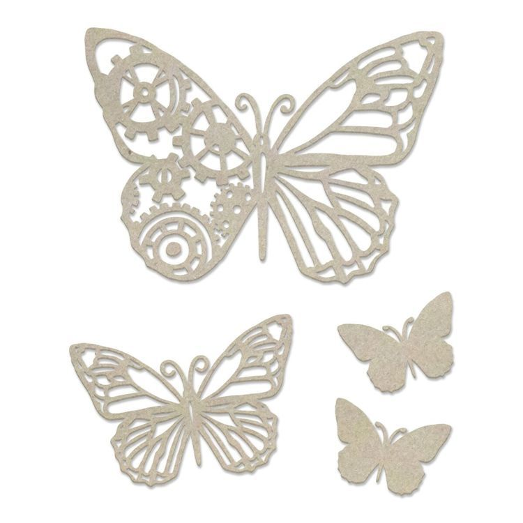 Chipboard - Steampunk Dreams - Steampunk Butterfly Set (4pc) - 106 x 120mm | 4.1 x 4.7in