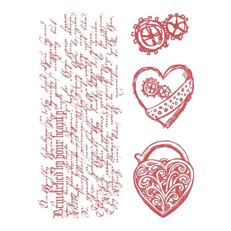 Stamp Set - Steampunk Dreams - Heart Locket (4pc) - 110 x 140mm
