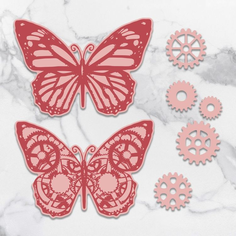Stamp & Die Set - Steampunk Dreams - Butterflies & Gears (8pc)