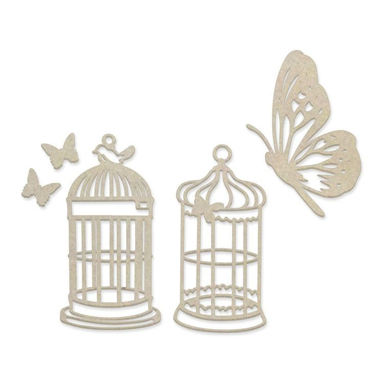 Butterfly Cage Chipboard Set (5pc)