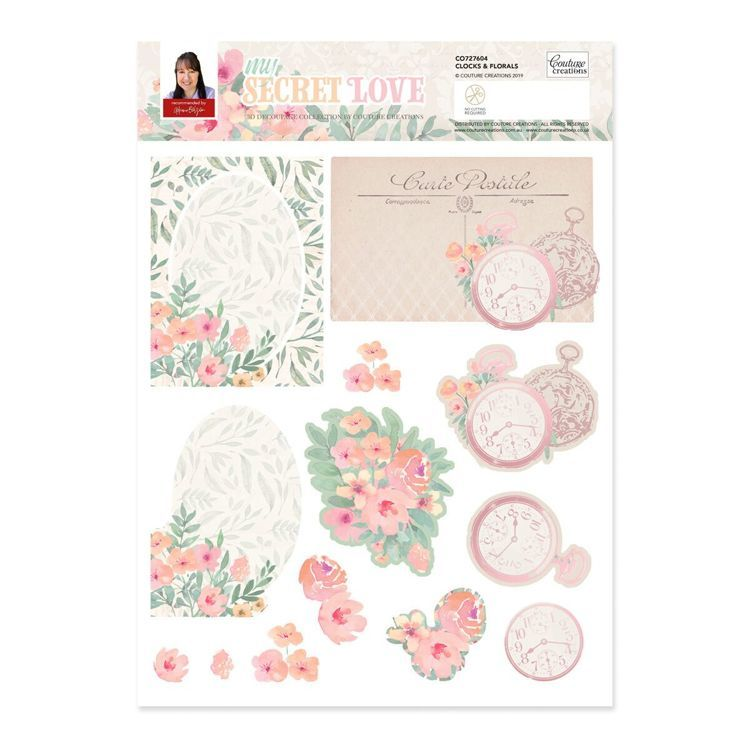 Clocks and Florals A4 Decoupage Set