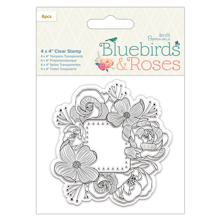 "4 x 4"" Clear Stamp - Frame - Bluebirds & Roses"