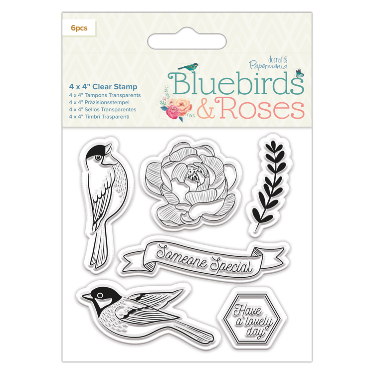 "4 x 4"" Clear Stamp - Birds - Bluebirds & Roses"