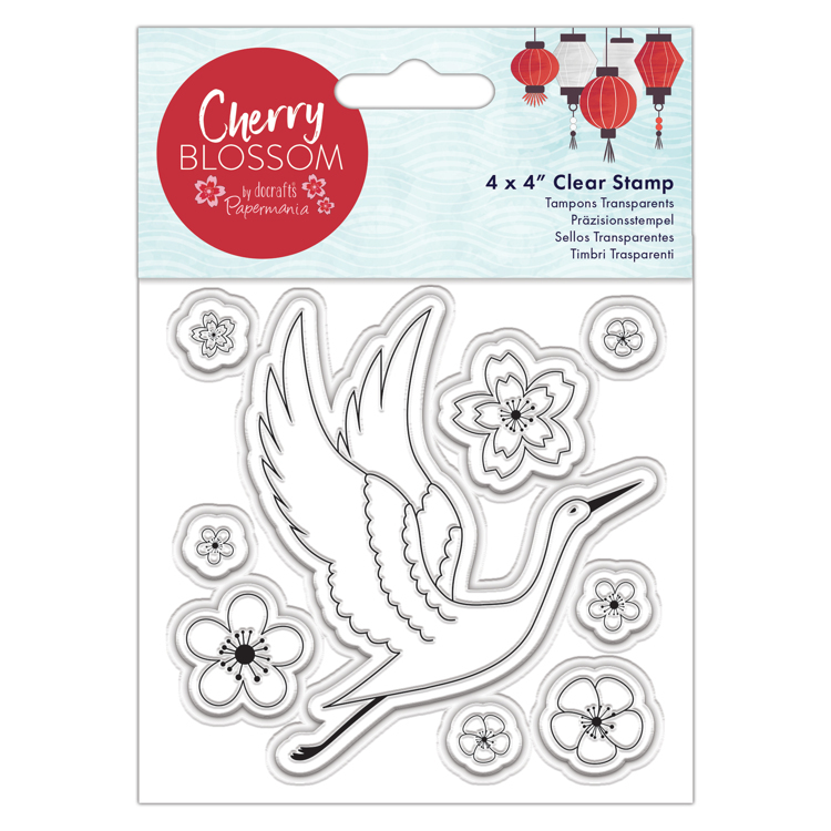"4 x 4"" Clear Stamp - Cherry Blossom - Cranes"