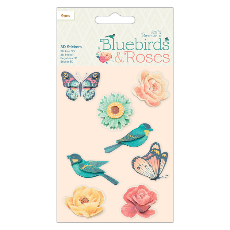 3D Stickers (6pcs) - Bluebirds & Roses