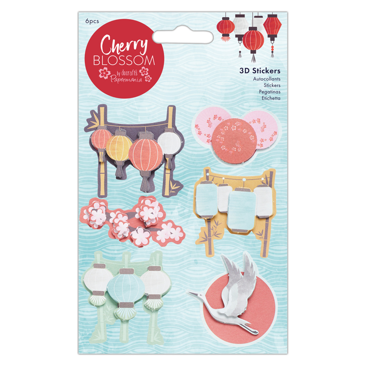 3D Stickers (6pcs) - Cherry Blossom