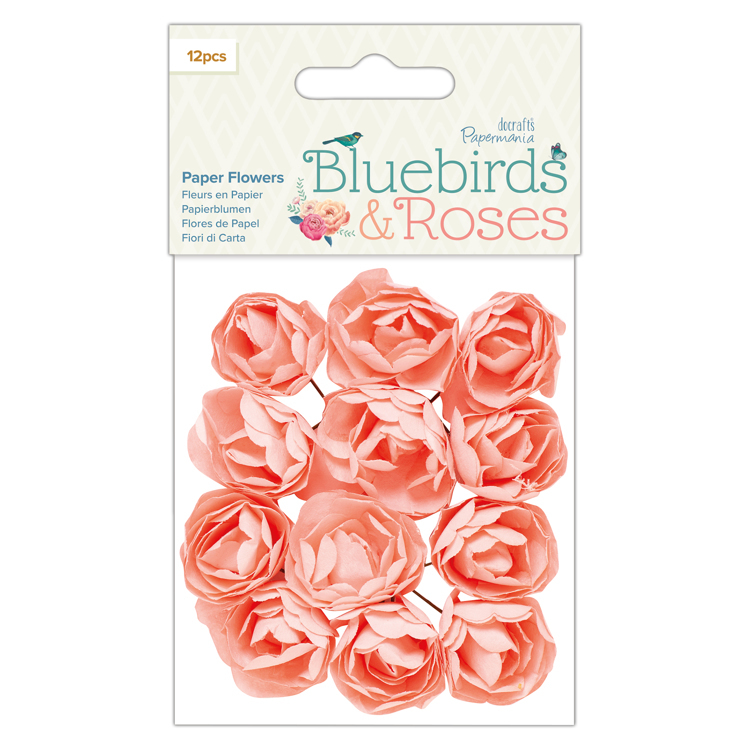 Paper Flowers (12 pcs) - Bluebirds & Roses