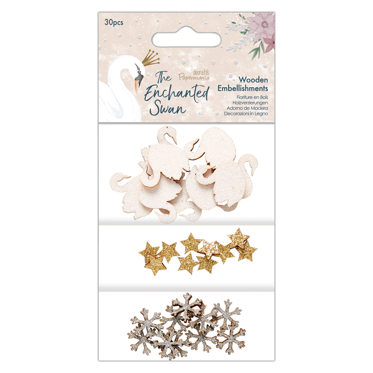 Wooden Embellishments (30pcs) - The Enchanted Swan