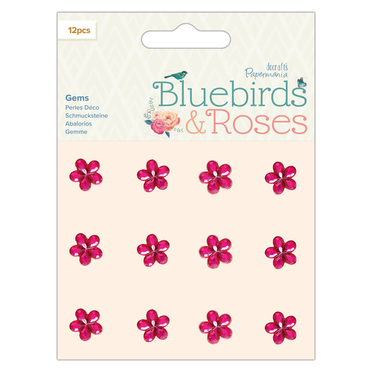 Adhesive Gems (12pcs) - Bluebirds & Roses