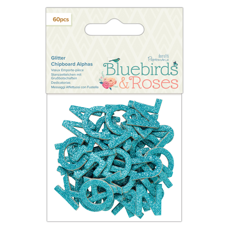 Glitter Chipboard Alphas (60pcs) - Bluebirds & Roses