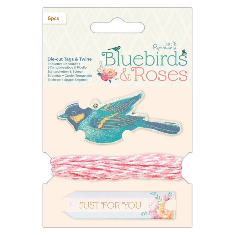 Die-cut Tags & Twine (6pcs) - Bluebirds & Roses